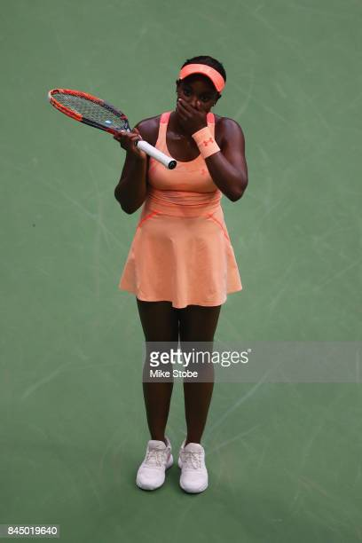 Sloane Stephens of the United States celebrates match point after defeating Madison Keys of the United States during their Women's Singles finals...