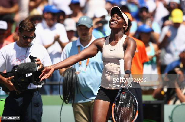 Sloane Stephens of the United States celebrates to the crowd after her straight sets victory against Jelena Ostapenko of Latvia in the womens final...