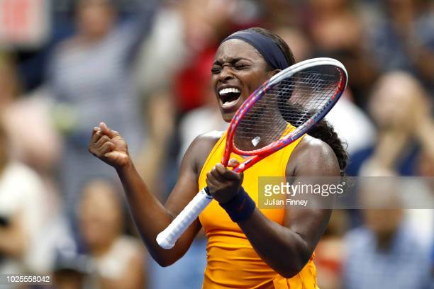 Sloane Stephens of the United States celebrates victory during her women's singles third round match against Victoria Azarenka of Belarus on Day Five...
