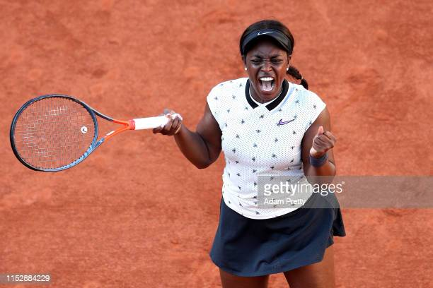 Sloane Stephens of The United States celebrates victory during her ladies singles third round match against Polona Hercog of Slovenia during Day six...