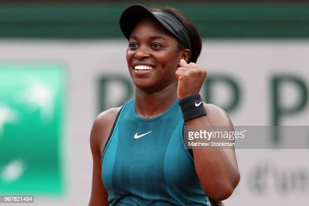 Sloane Stephens of The United States celebrates victory during the laies singles quarter finals match against Daria Kasatkina of Russia during day...
