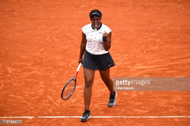 Sloane Stephens of The United States celebrates victory in her ladies singles first round match against Misaki Doi of Japan during Day one of the...