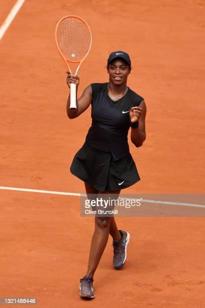 Sloane Stephens of the United States celebrates winning her women's second round match against Karolina Pliskova of The Czech Republic during day...