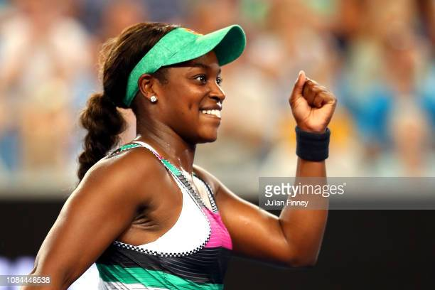 Sloane Stephens of the United States celebrates winning match point in her third round match against Petra Martic of Croatia during day five of the...