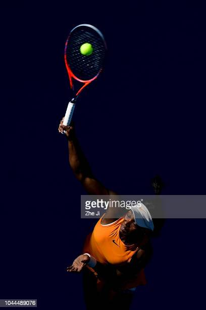 Sloane Stephens of the United States hits a return against Zheng Saisai of China during their Women's Singles 2nd Round match of the 2018 China Open...