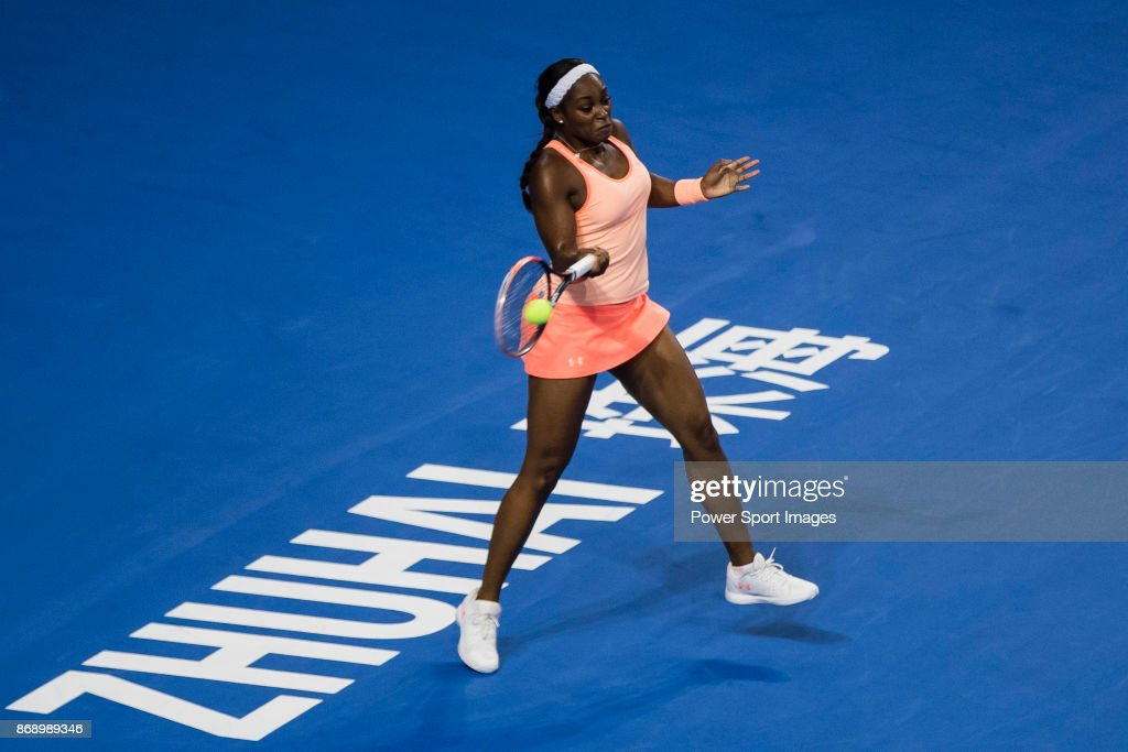 Sloane Stephens of the United States hits a return during the singles Round Robin match of the WTA Elite Trophy ZHUHAI 2017 against Anastasija Sevastova of Latvia at Hengqin Tennis Center on November 01, 2017 in Zhuhai, China.