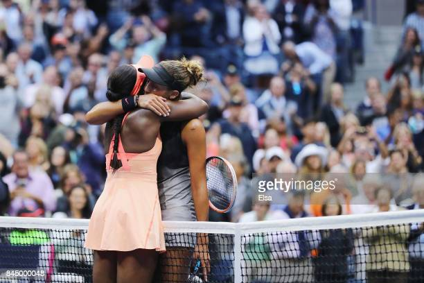 Sloane Stephens of the United States hugs Madison Keys of the United States after their Women's Singles finals match on Day Thirteen of the 2017 US...