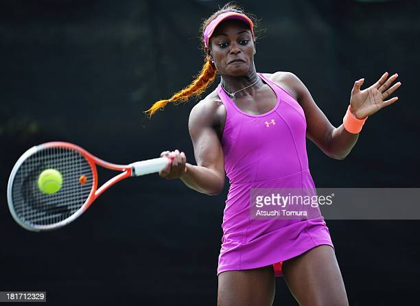 Sloane Stephens of the United States in action during her women's singles second round match against Eugenie Bouchard of Canada during day three of...