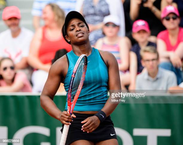 Sloane Stephens of the United States looks frustrated after losing a point against Camila Giorgi of Italy in the third round of the women's singles...