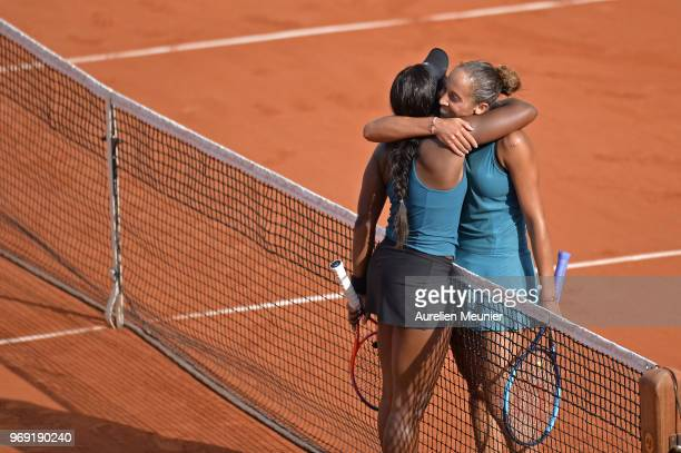 Sloane Stephens of The United states of America congratulates Madison Keys of The United states of America after winning her women's singles...