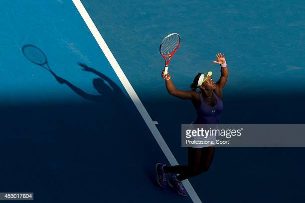 Sloane Stephens of the United States of America in action during in her fourth round match against Bojana Jovanovski of Serbia on day eight of the...