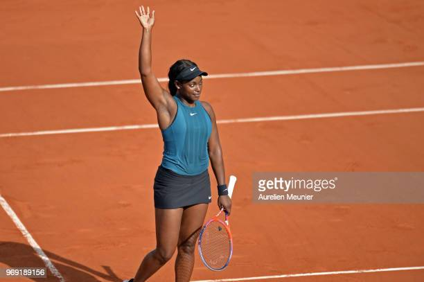 Sloane Stephens of The United states of America reacts after winning her women's singles semifinal match against Madison Keys of The United states of...