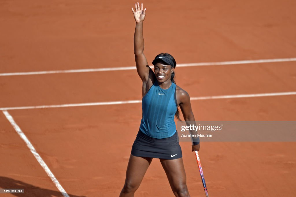 Sloane Stephens of The United states of America reacts after winning her women's singles semifinal match against Madison Keys of The United states of America on day 12 of the 2018 French Open at Roland Garros on June 7, 2018 in Paris, France.