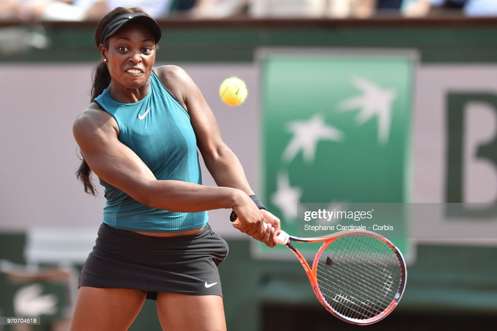 Sloane Stephens of The United States plays a backhand during the ladies singles final against Simona Halep of Romania during day fourteen of the 2018 French Open at Roland Garros on June 9, 2018 in Paris, France.