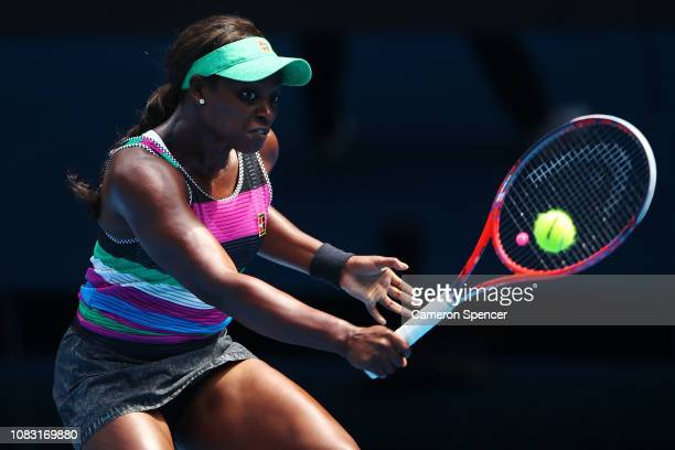 Sloane Stephens of the United States plays a backhand in her second round match against Timea Babos of Hungary during day three of the 2019...