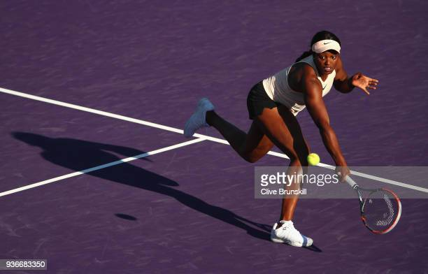 Sloane Stephens of the United States plays a backhand volley against Ajla Tomljanovic of Australia in their second round match during the Miami Open...