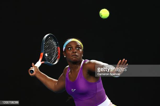 Sloane Stephens of the United States plays a forehand during her Women's Singles first round match against Shuai Zhang of China on day one of the...
