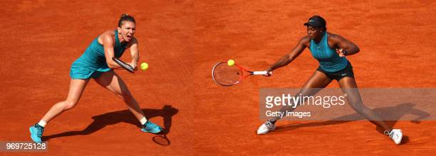 COMPOSITE OF IMAGES Image numbers 964510530 and 969166706 In this composite image a comparision has been made between Simona Halep of Romania and...