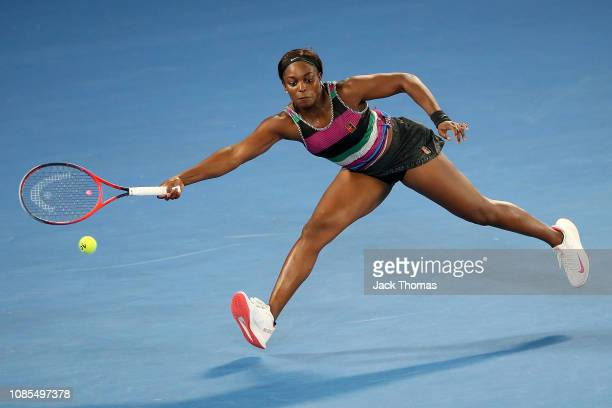 Sloane Stephens of the United States plays a forehand in her fourth round match against Anastasia Pavlyuchenkova of Russia during day seven of the...