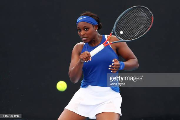 Sloane Stephens of the United States plays a forehand in her match against Liudmila Samsonova of Russia during day two of the 2020 Brisbane...