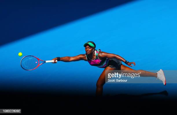 Sloane Stephens of the United States plays a forehand in her second round match against Timea Babos of Hungary during day three of the 2019...