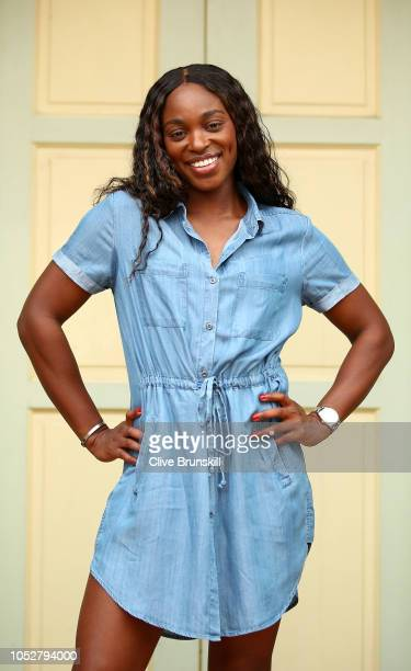 Sloane Stephens of the United States poses outside traditional shop houses along Koon Seng Road in Singapore during day 3 of the BNP Paribas WTA...