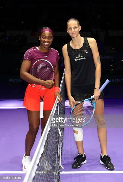 Sloane Stephens of the United States poses with Karolina Pliskova of the Czech Republic during the women's singles semi final match on Day 7 of the...