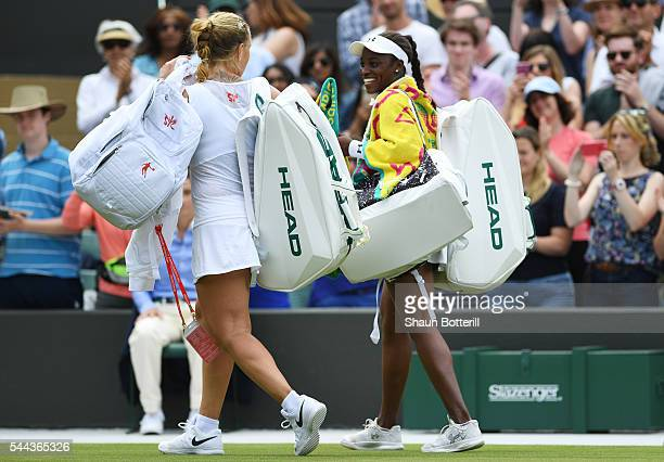 Sloane Stephens of The United States reacts following defeat during the Ladies Singles third round match against Svetlana Kuznetsova of Russia of The...
