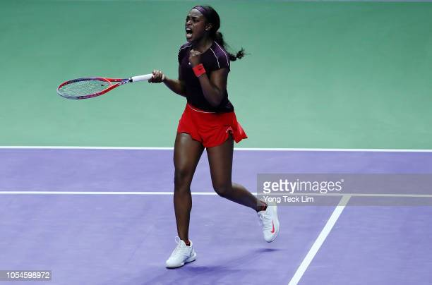 Sloane Stephens of the United States reacts to a point against Elina Svitolina of the Ukraine during the Women's singles final match on Day 8 of the...