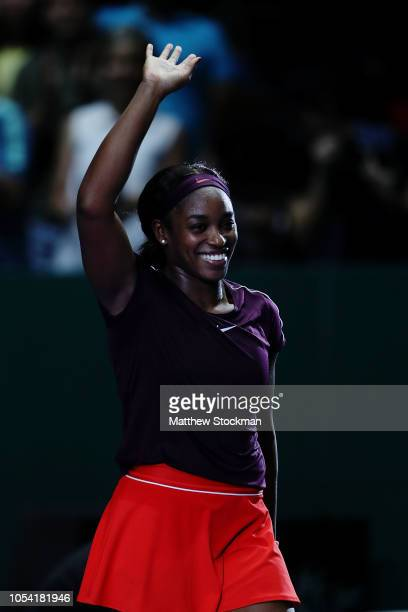 Sloane Stephens of the United States reacts to match point against Karolina Pliskova of the Czech Republic during the women's singles semi final...
