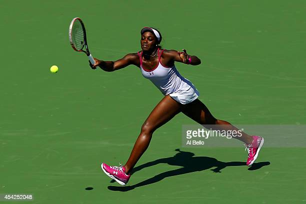 Sloane Stephens of the United States return a shot against Johanna Larsson of Sweden during her women's singles second round match on Day Three of...