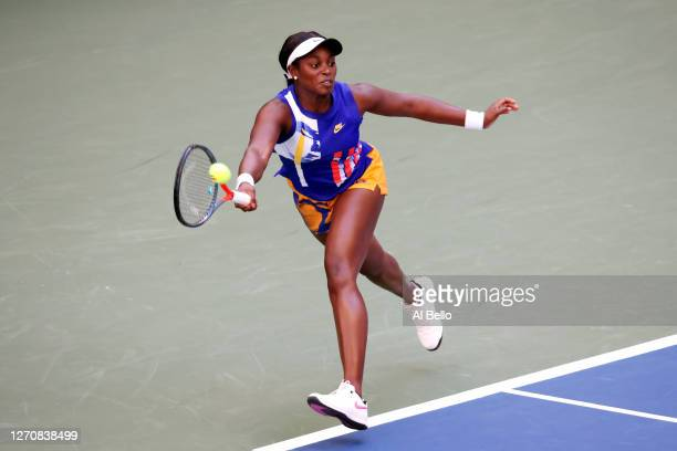 Sloane Stephens of the United States returns a shot during her Women's Singles third round match against Serena Williams of the United States on Day...