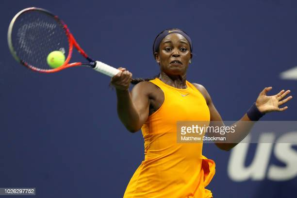 Sloane Stephens of the United States returns the ball during her women's singles fourth round match against Elise Mertens of Belgium on Day Seven of...