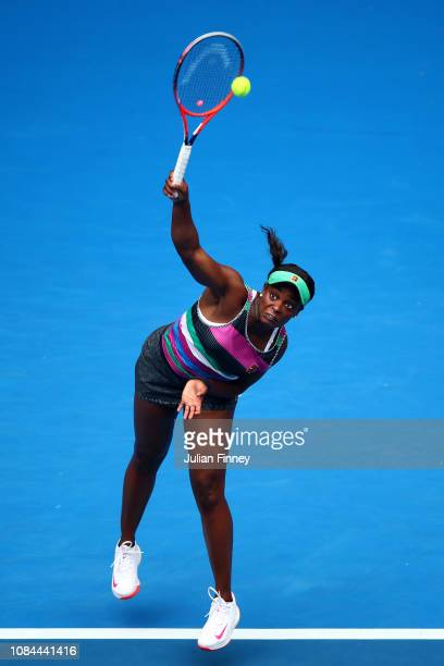 Sloane Stephens of the United States serves in her third round match against Petra Martic of Croatia during day five of the 2019 Australian Open at...