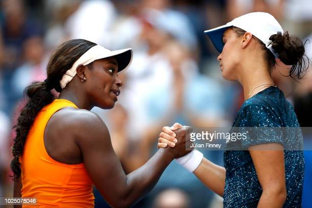 Sloane Stephens of the United States shakes hands with Anhelina Kalinina of Ukraine after their women's singles second round match on Day Three of...