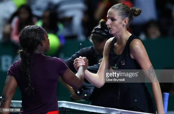 Sloane Stephens of the United States shakes hands with Karolina Pliskova of the Czech Republic after the women's singles semi final match on Day 7 of...