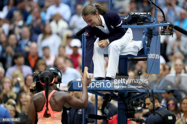 Sloane Stephens of the United States shakes hands with the umpire after the Women's Singles finals match on Day Thirteen of the 2017 US Open at the...