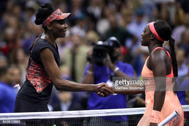 Sloane Stephens of the United States shakes hands with Venus Williams of the United States in their Women's Singles Semifinal match on Day Eleven of...