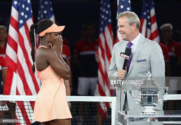 Sloane Stephens of the United States speaks during the trophy presentation after the Women's Singles finals match on Day Thirteen of the 2017 US Open...