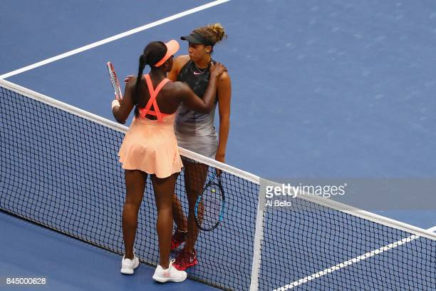 Sloane Stephens of the United States speaks with Madison Keys of the United States after their Women's Singles finals match on Day Thirteen of the...