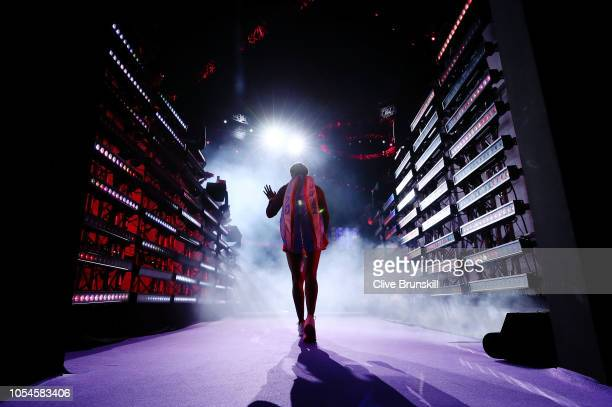 Sloane Stephens of the United States walks onto the court prior to her match with Elina Svitolina of the Ukraine during the Women's singles final...