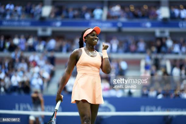 Sloane Stephens of the US celebrates after defeating compatriot Madison Keys during their 2017 US Open Women's Singles final match at the USTA Billie...