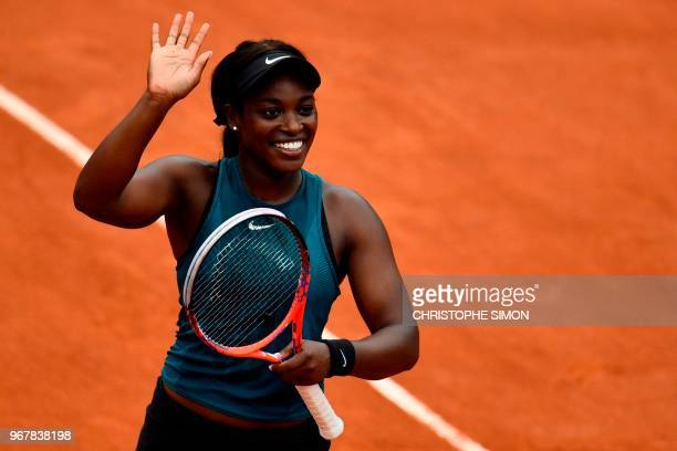 TOPSHOT Sloane Stephens of the US celebrates after victory over Russia's Daria Kasatkina at the end of their women's singles quarterfinal match on...
