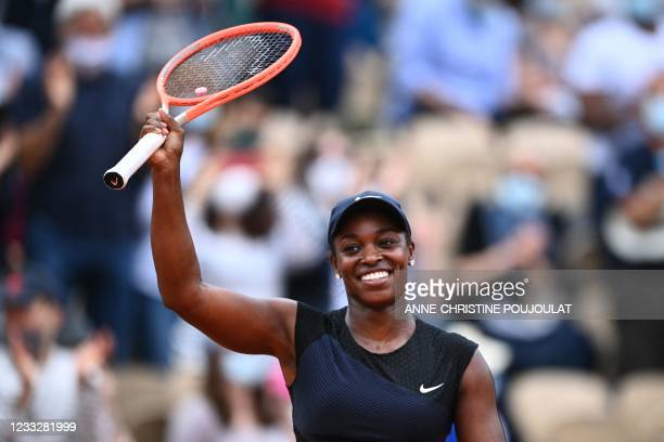 Sloane Stephens of the US celebrates after winning against Czech Republic's Karolina Muchova during their women's singles third round tennis match on...