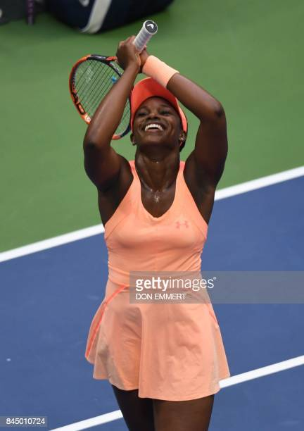 Sloane Stephens of the US celebrates her victory over compatriot Madison Keys in their US Open Women's Singles Final match Septmber 9 2017 at the...