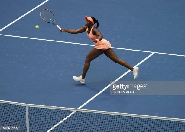 Sloane Stephens of the US hits a return to compatriot Madison Keys during their US Open Women's Singles Final match Septmber 9 2017 at the Billie...