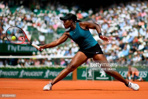 TOPSHOT Sloane Stephens of the US plays a backhand return to Romania's Simona Halep during their women's singles final match on day fourteen of The...