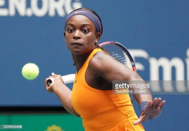 Sloane Stephens of the US plays against Victoria Azarenka of Belarus during Day 5 of the 2018 US Open Women's Singles match at the USTA Billie Jean...