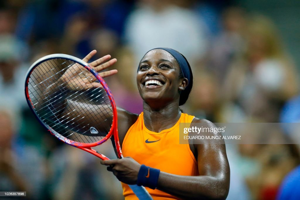 TOPSHOT - Sloane Stephens of the US reacts after defeating Belgium's Elise Mertens during their women's singles tennis match on Day 7 of the 2018 US Open at the USTA Billie Jean King National Tennis Center on September 2, 2018 in New York City.