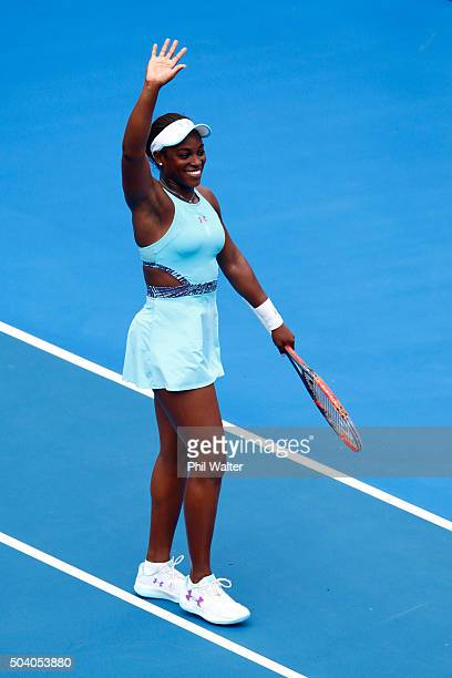 Sloane Stephens of the USA celebrates following her semifinal win against Caroline Wozniacki of Denmark during day six of the 2016 ASB Classic at the...